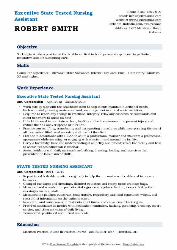 Executive State Tested Nursing Assistant Resume Template