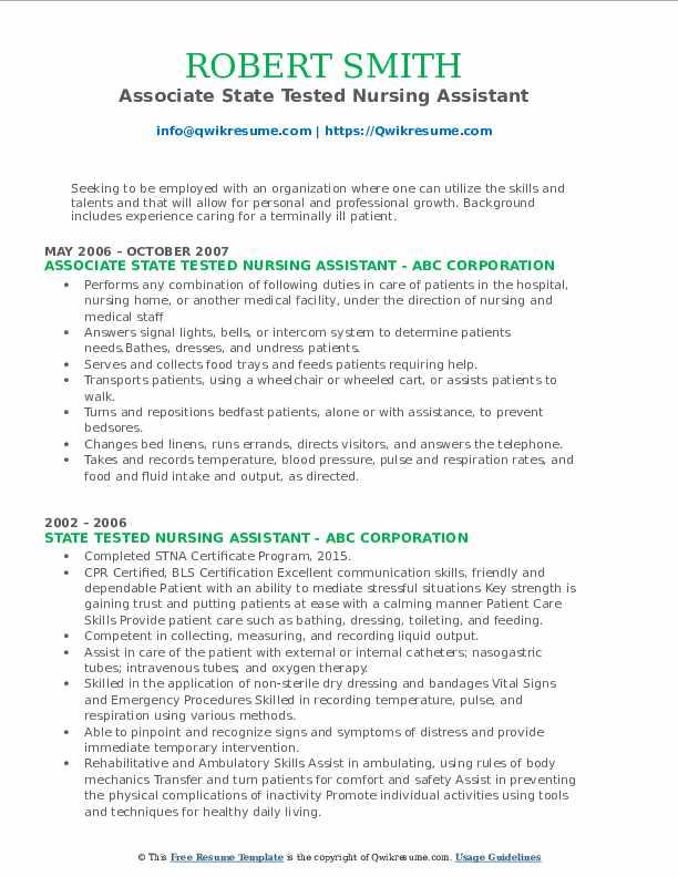 Associate State Tested Nursing Assistant Resume Sample