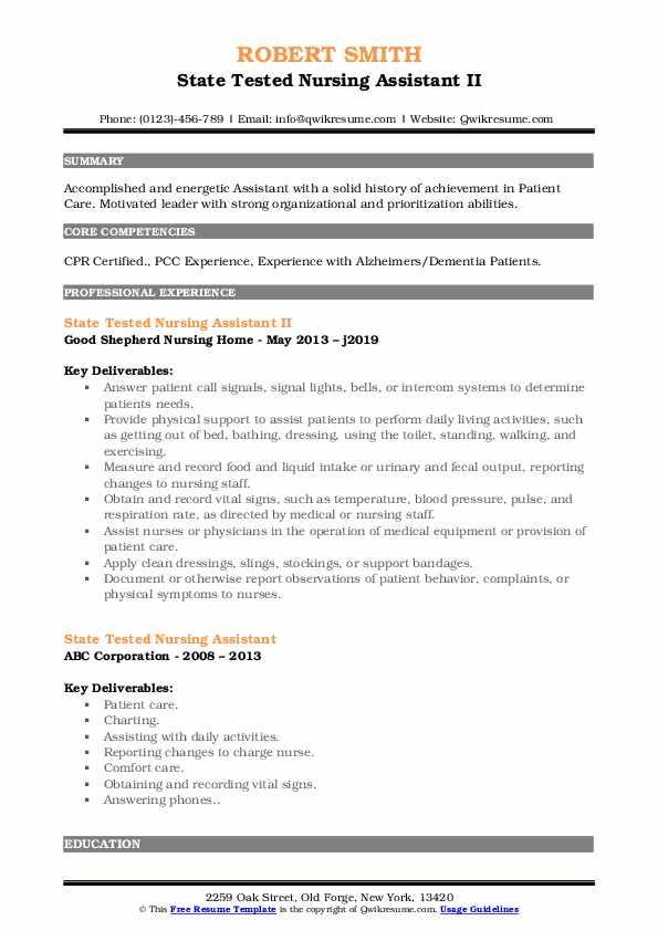 State Tested Nursing Assistant II Resume Format