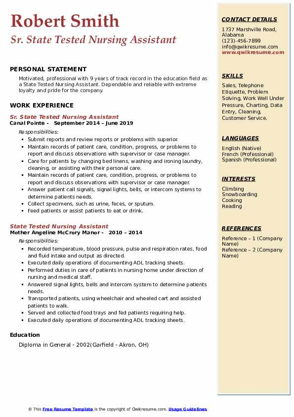Sr. State Tested Nursing Assistant Resume Template