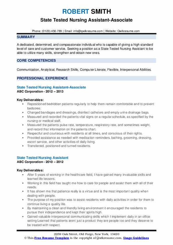 State Tested Nursing Assistant-Associate Resume Template