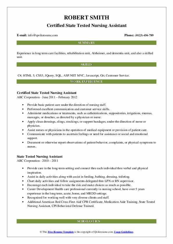 Certified State Tested Nursing Assistant Resume Format