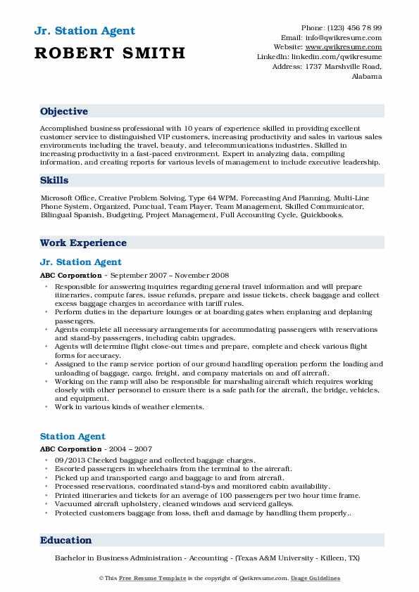Jr. Station Agent Resume Sample