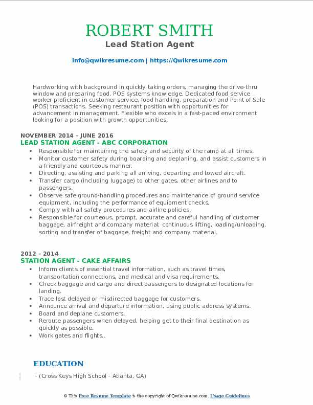 Lead Station Agent Resume Template