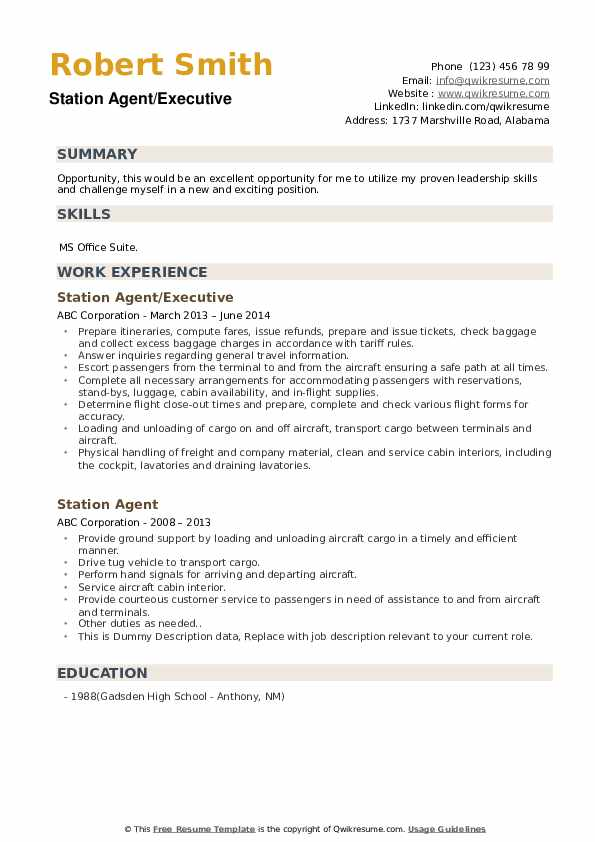 Station Agent/Executive Resume Example