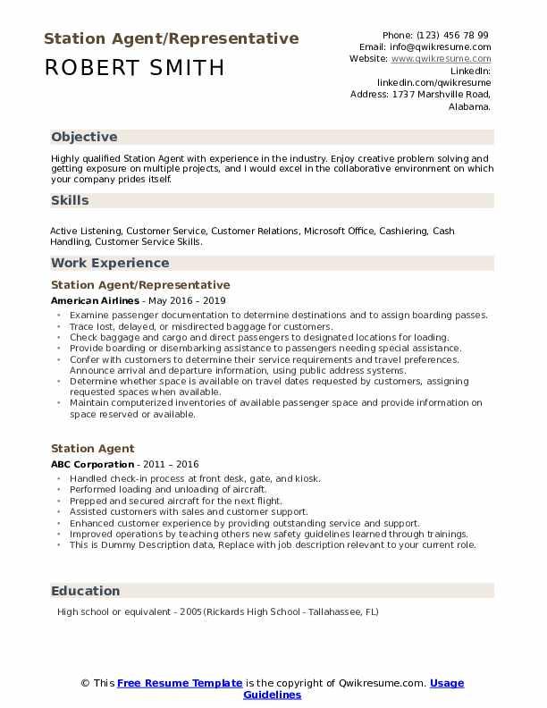 Station Agent/Representative Resume Format