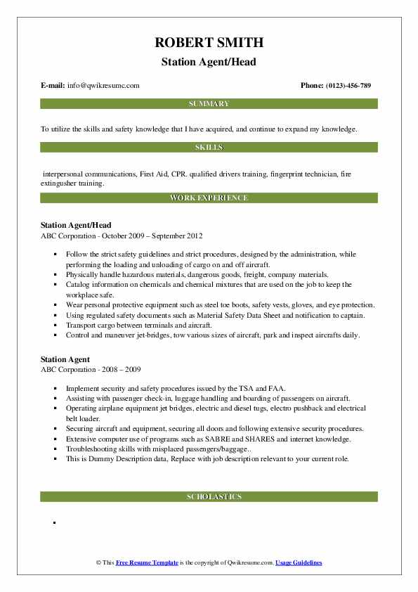 Station Agent/Head Resume Sample