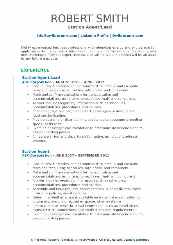 Station Agent/Lead Resume Format