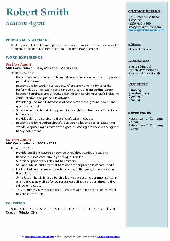 Station Agent Resume example