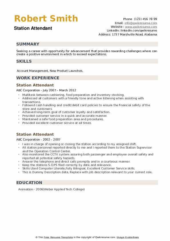 Station Attendant Resume example