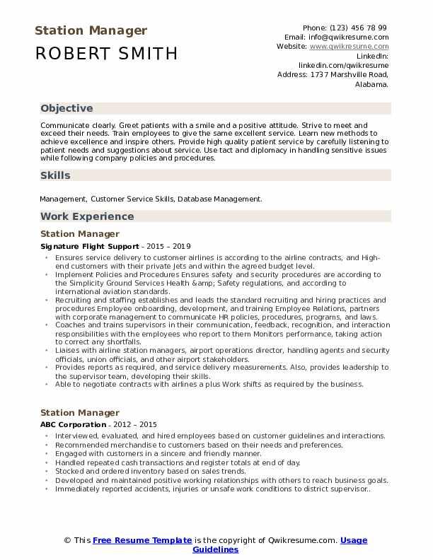 Station Manager Resume Format