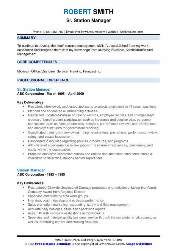 Sr. Station Manager Resume Format
