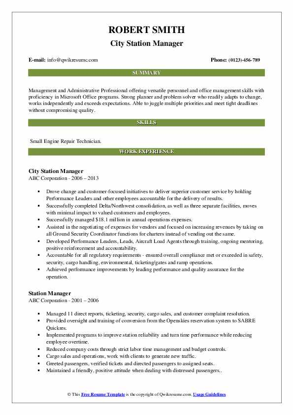 City Station Manager Resume Template