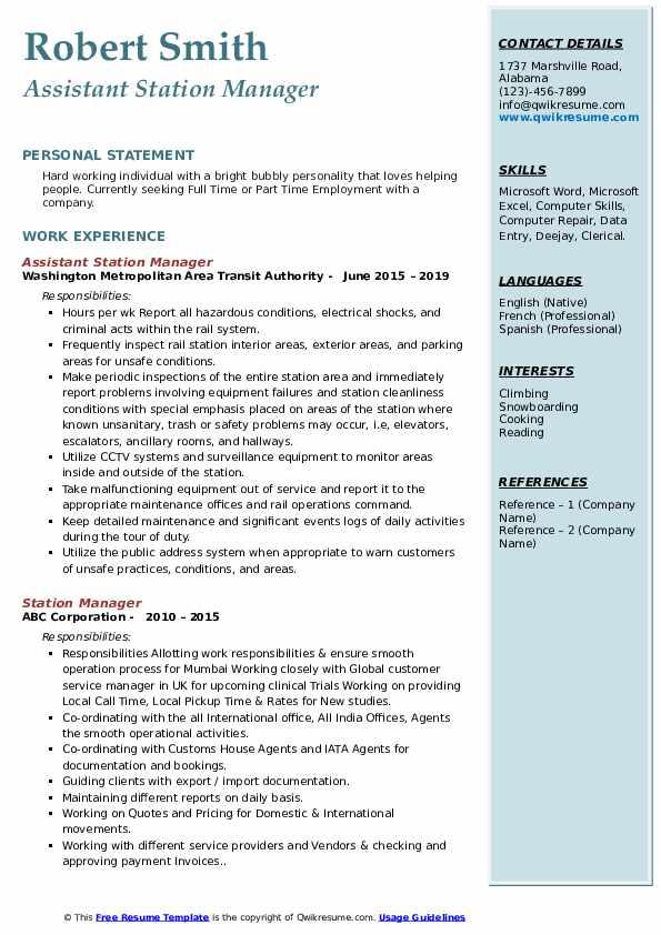 Assistant Station Manager Resume Format