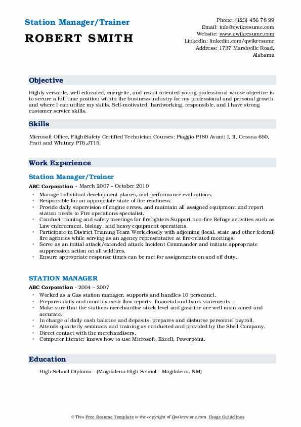 Station Manager/Trainer Resume Model