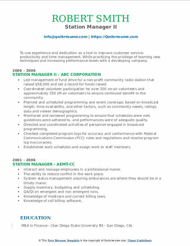 Station Manager II Resume Template