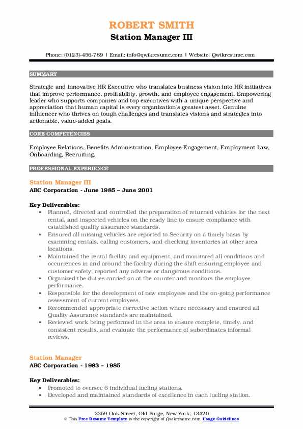 Station Manager III Resume Template