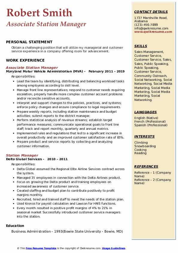Associate Station Manager Resume Template