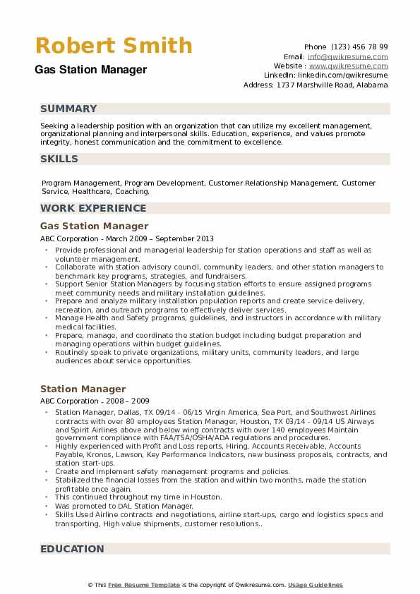 Gas Station Manager Resume Template