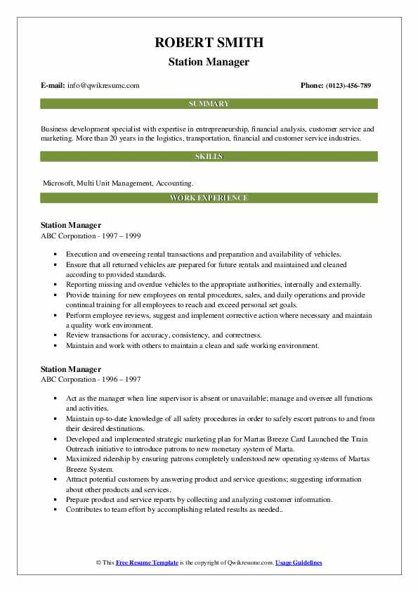 Station Manager Resume example