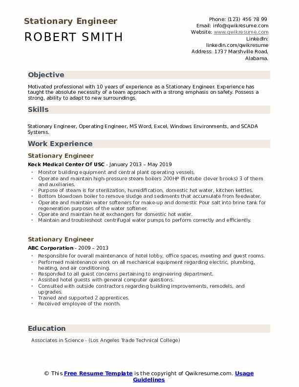 Stationary Engineer Resume Format