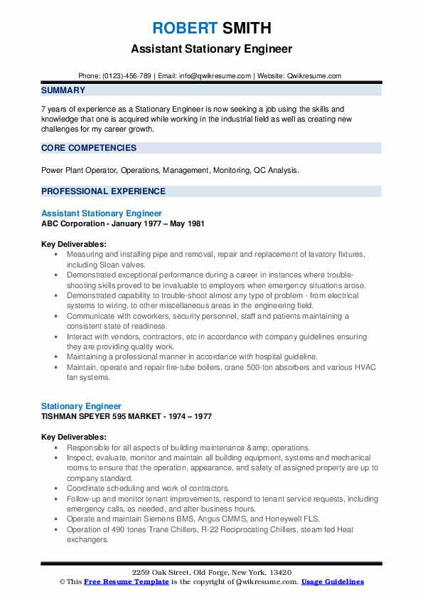 Assistant Stationary Engineer Resume Format