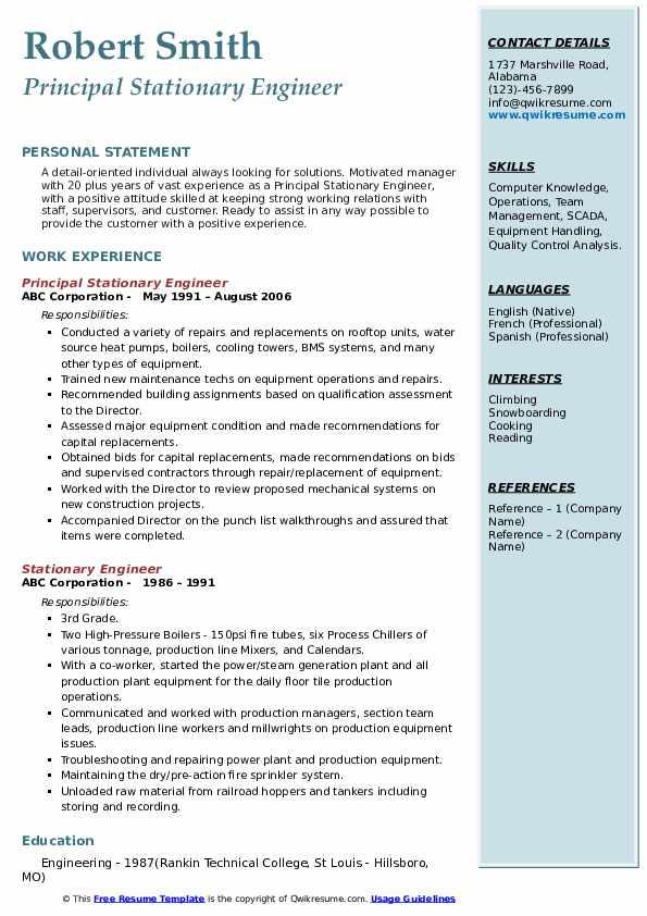 Principal Stationary Engineer Resume Format