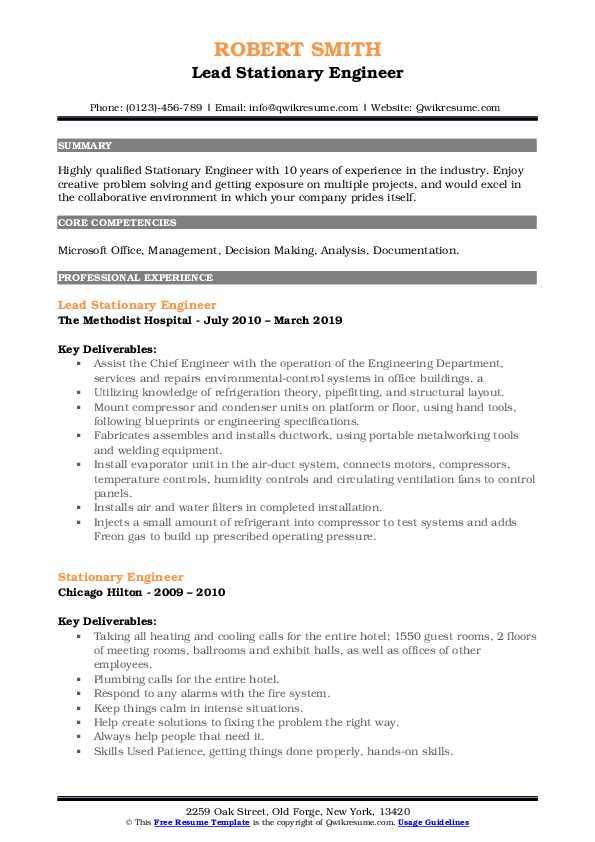 Lead Stationary Engineer Resume Sample