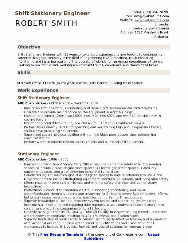 Shift Stationary Engineer Resume Sample