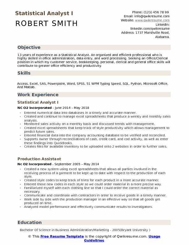 Statistical Analyst I Resume Format