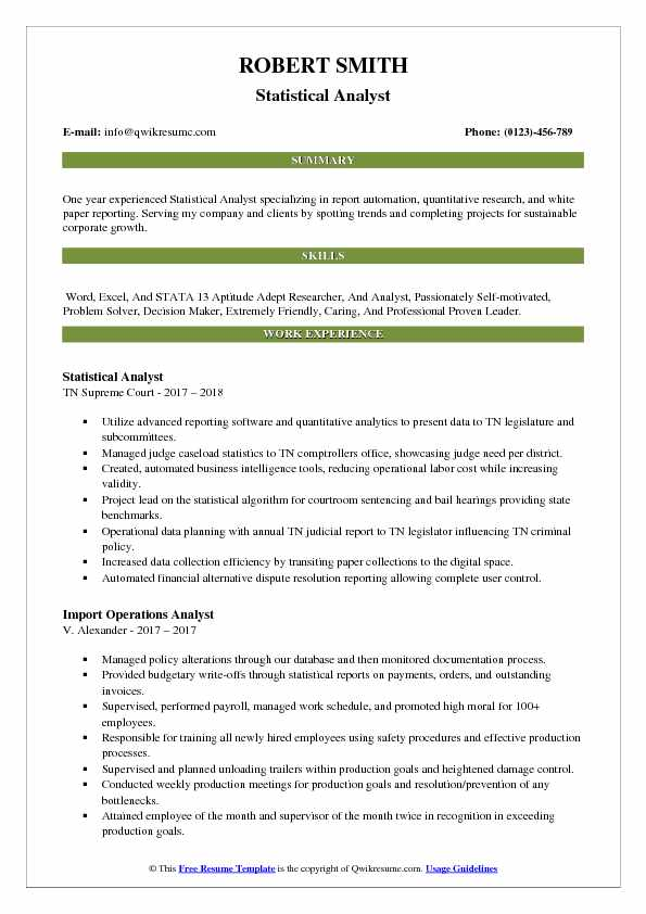 Statistical Analyst Resume Sample