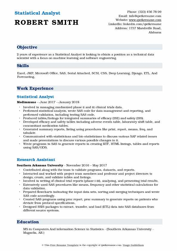 Statistical Analyst Resume Example