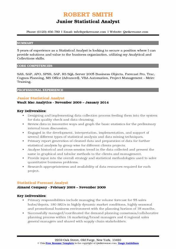statistical analyst resume samples