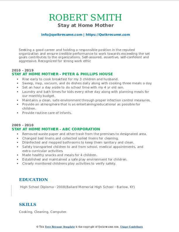 stay at home mother resume samples  qwikresume
