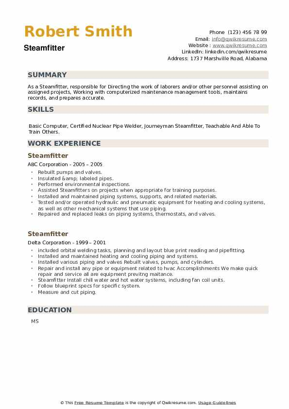 Steamfitter Resume example