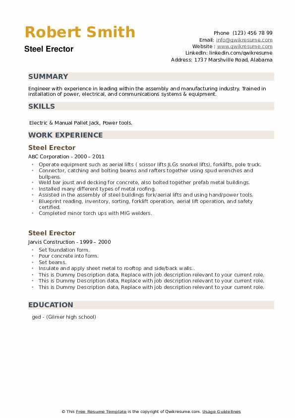Steel Erector Resume example