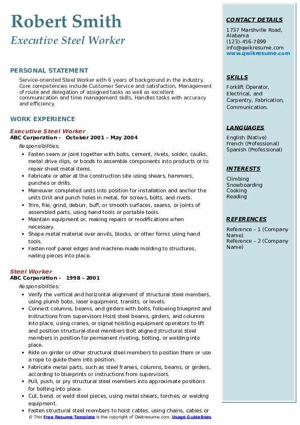 Executive Steel Worker Resume Example