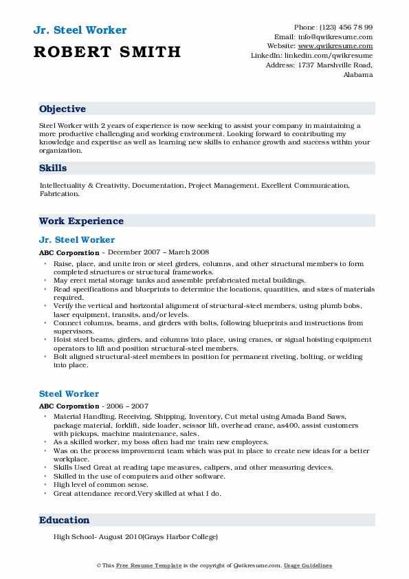 Jr. Steel Worker Resume Format