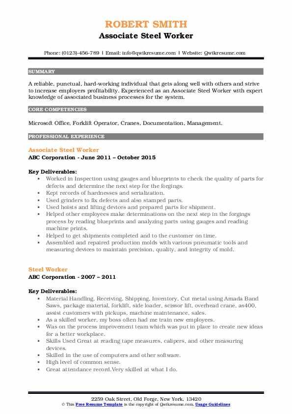 Associate Steel Worker Resume Sample