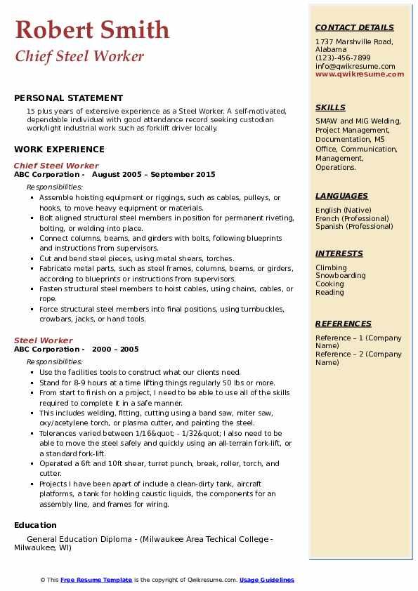 Chief Steel Worker Resume Sample