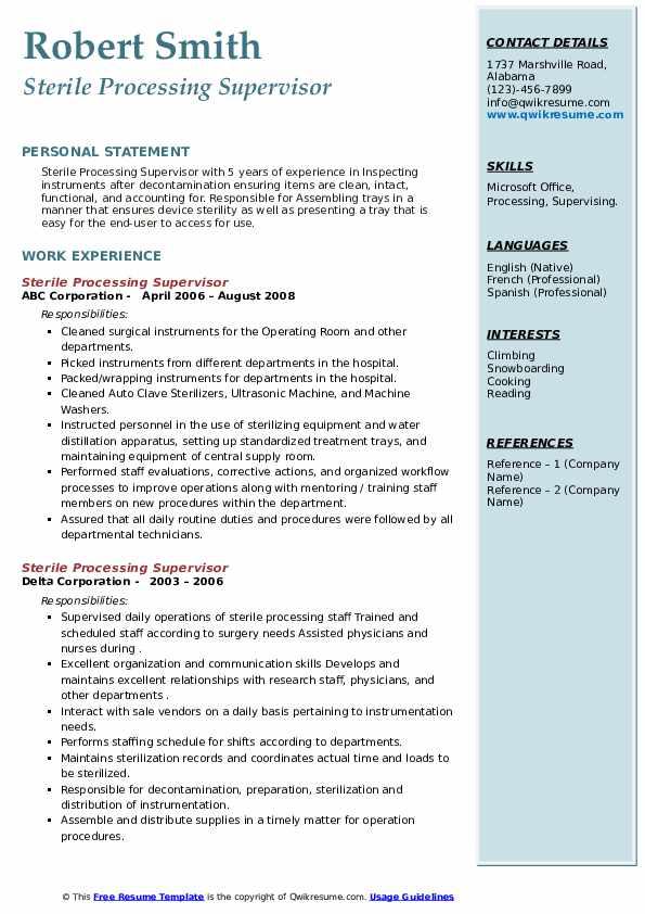 sterile processing supervisor resume samples  qwikresume