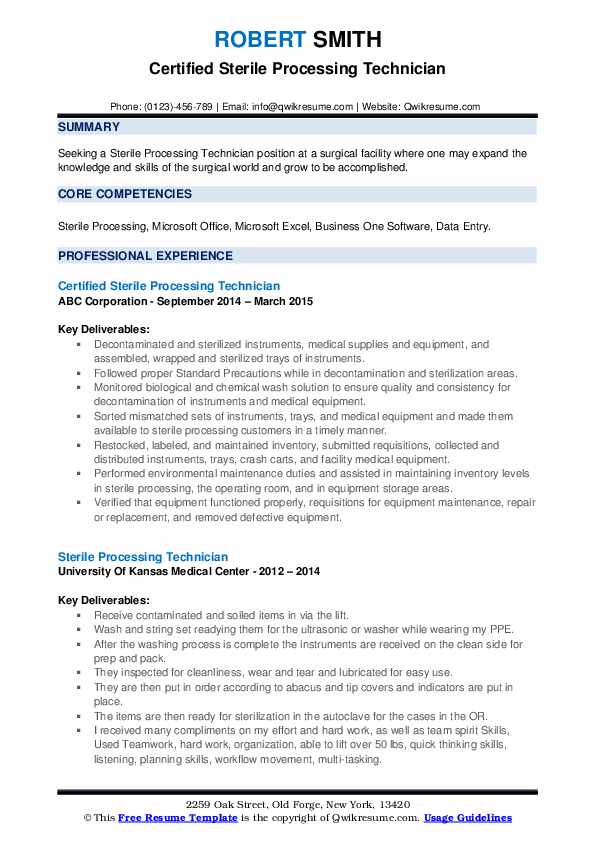 Sterile Processing Technician Resume Samples Qwikresume