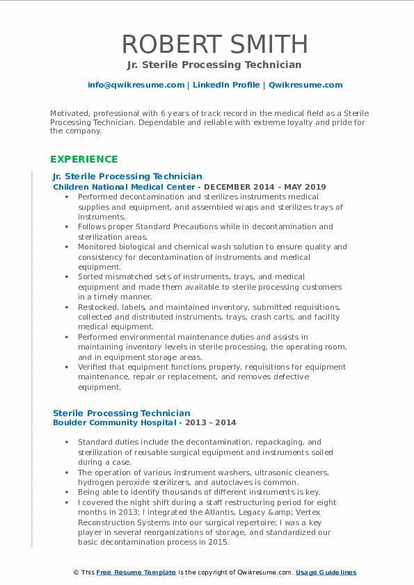 Jr. Sterile Processing Technician Resume Format