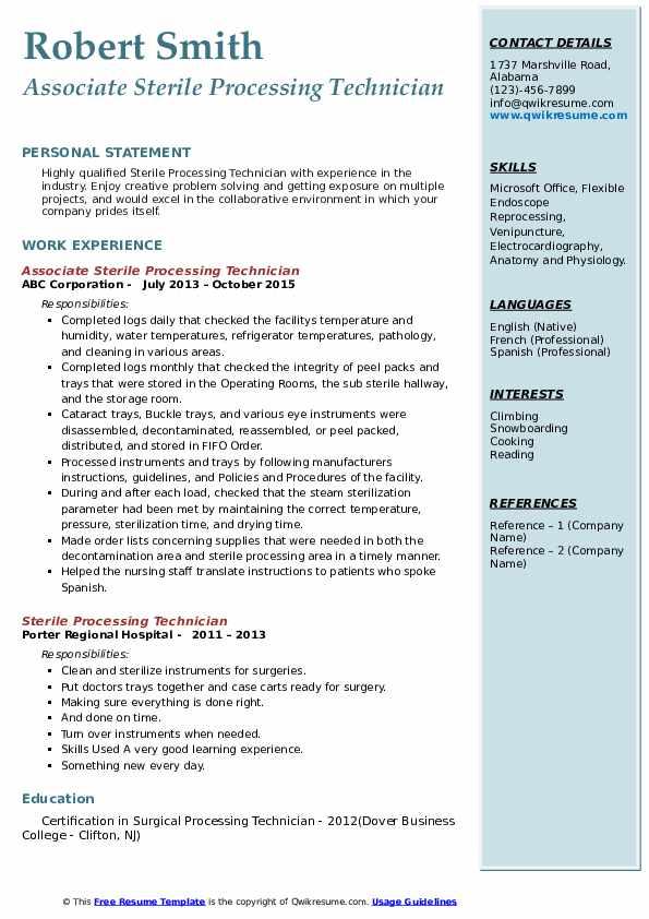 Associate Sterile Processing Technician Resume Model