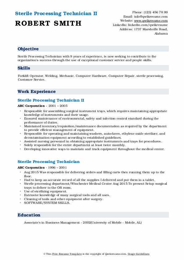Sterile Processing Technician II Resume Template