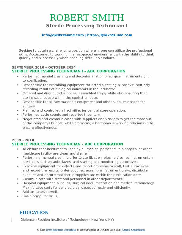 Sterile Processing Technician I Resume Model