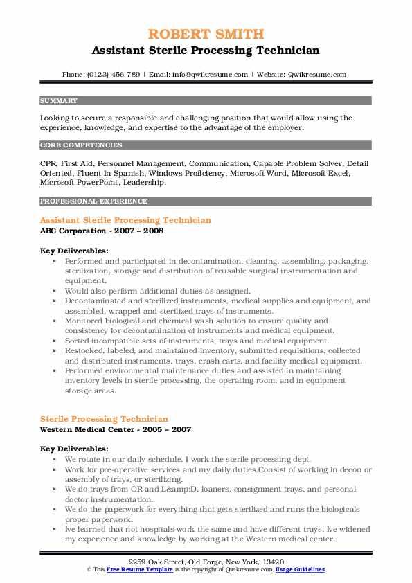Assistant Sterile Processing Technician Resume Template