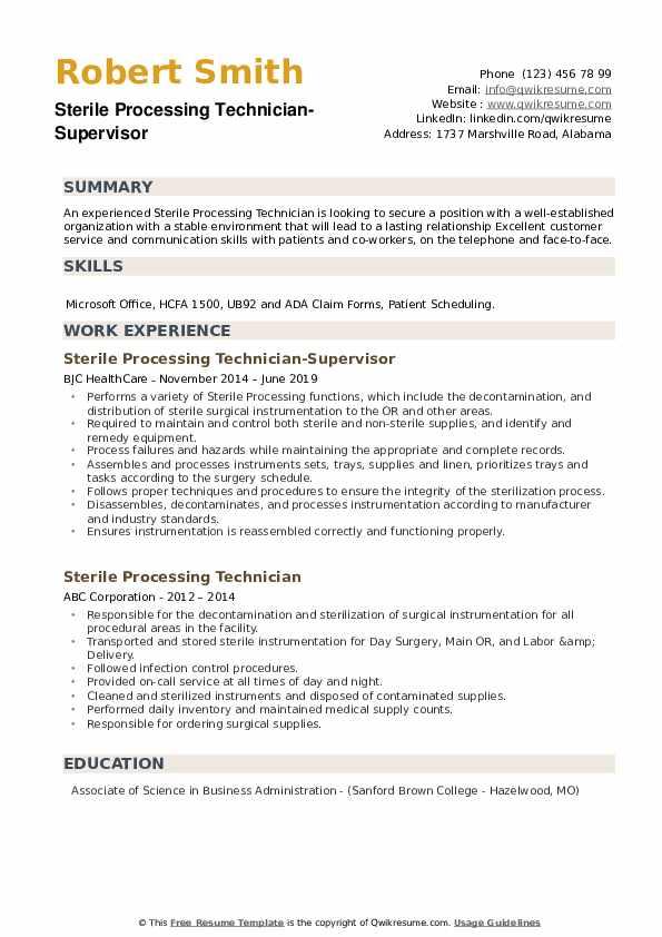 Sterile Processing Technician-Supervisor Resume Model