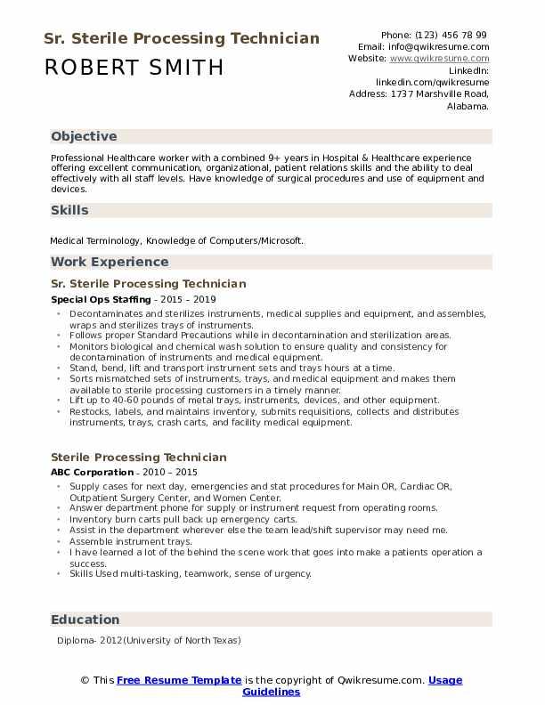 Sr. Sterile Processing Technician Resume Sample