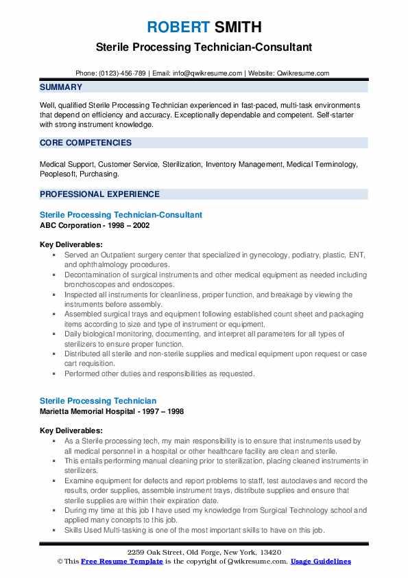 Sterile Processing Technician-Consultant Resume Template